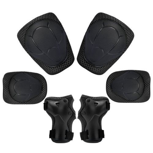 Kuyou Kids Protective Gear Set,6pcs Knee and Elbow Pads with Wrist Guards Toddler for Child Safety Rollerblading Skating Volleyball (Black)