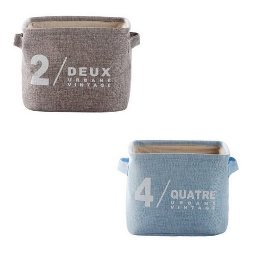 Set Of 2 Cotton Linen Storage Baskets Keys Toys Snacks Debris Storage Box, 2 + 4