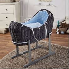 Blue Dimple Grey Wicker Moses Basket Pod And Grey Rocking Stand