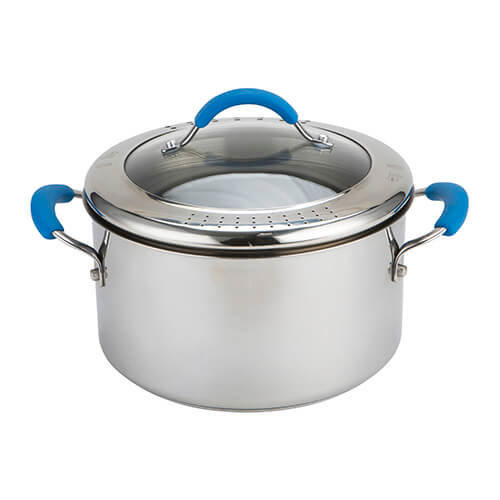 Joe Wicks Quick & Even Stainless Steel Non-Stick Cookware - 24cm 5.6L Straining Stockpot
