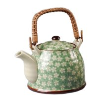 Japanese Style Porcelain Teapot, Plum Blossom 30 OZ, GREEN