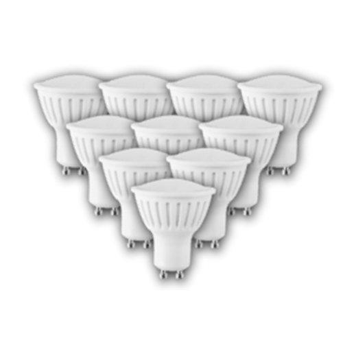 4W GU10 2700K 320lm Warm White LED Spot Bulb White Plastic (10 PACK)