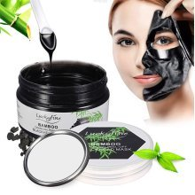 LuckyFine Black Mask Bamboo Charcoal Peel-off Blackhead Deep Cleansing With Mirror Spoon