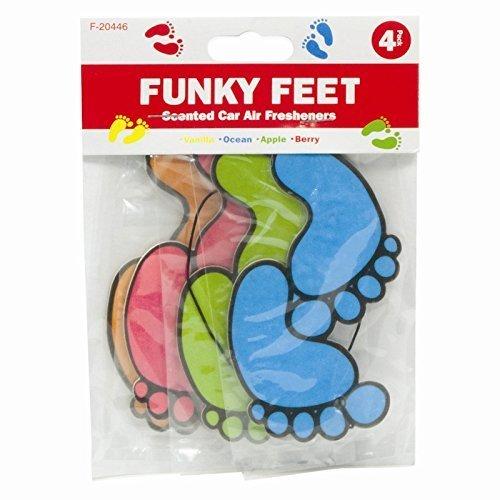 Funky Feet 4 PACK CAR AIR FRESHNER HOME OFFICE SCENTED HANGING VANILLA OCEAN APPLE BERRY