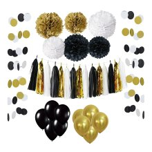 Wartoon 33 Pcs Paper Pom Poms Flowers Tissue Balloon Tassel Garland Polka Dot Kit For Birthday Wedding Party Decorations