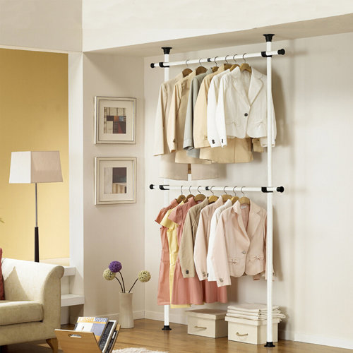Telescopic Wardrobe Organiser Hanging Rail Clothes Rack