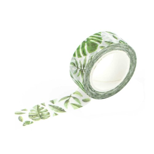 Leaves Pattern Decorative Craft Washi Masking Tape for Gift Wrapping (Set of 6 Rolls)