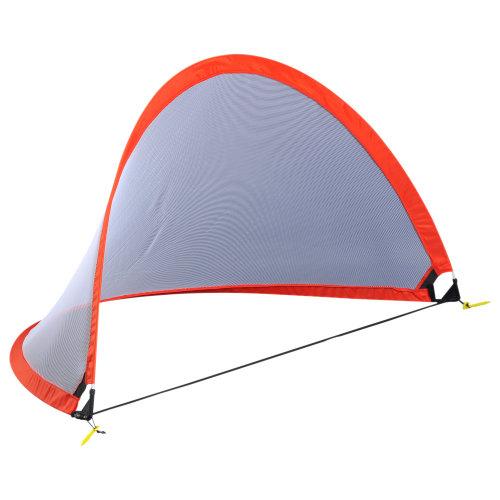 HOMCOM 6FT/180cm Foldable Soccer Net Kids Pop Up Football Goal Gate Large Door Kit Red Carry Bag