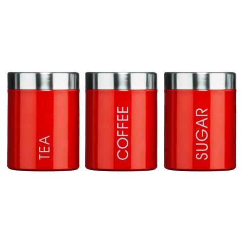 Set Of 3 Tea Coffee Sugar Enamel Canisters - Red