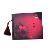 Artistic Chinese Style Schedule Book Diary Business Notebook, Red Lotus