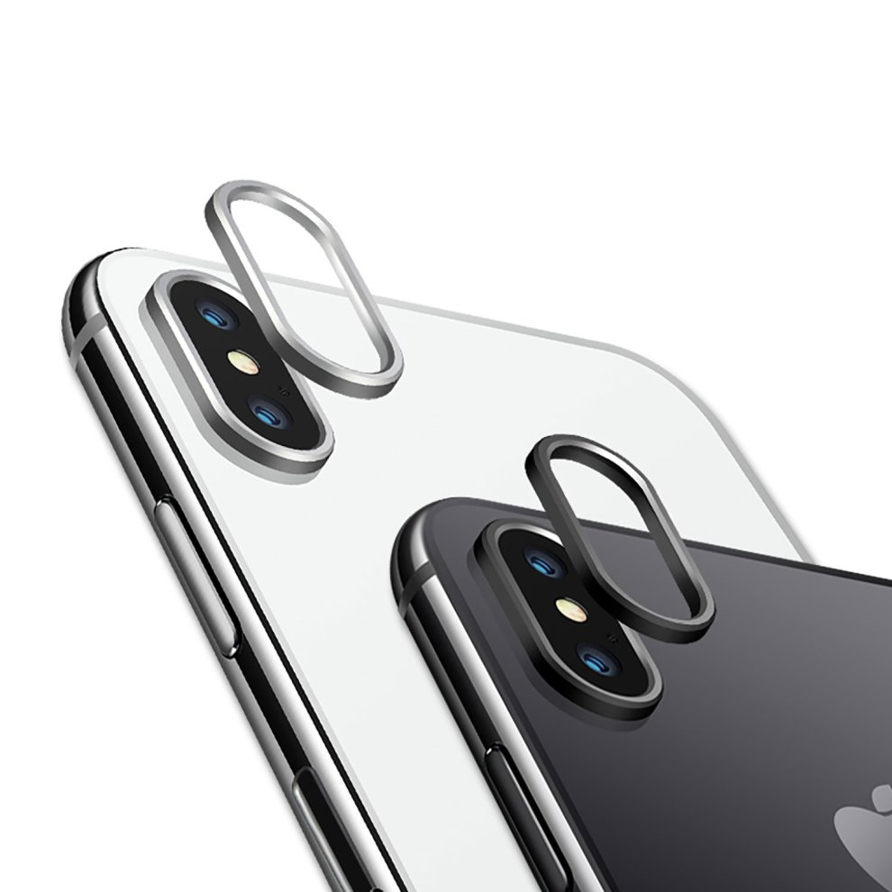 factory price cc29e 9ccd7 iPhone X Camera Lens Protector Metal Ring - 2 Pack - Olixar - Black + Silver
