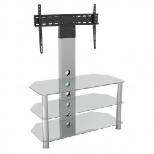 """King Upright Cantilever TV Stand with Bracket Clear Glass Shelves 90cm from 32"""" - 60"""" inch for HD Plasma LCD LED OLED Curved TV"""