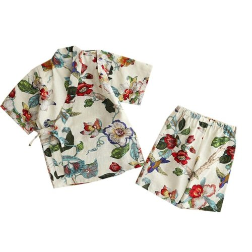 Girl Pajamas Cotton and Linen Bathrobe Children Kimono Khan Steamed Clothes