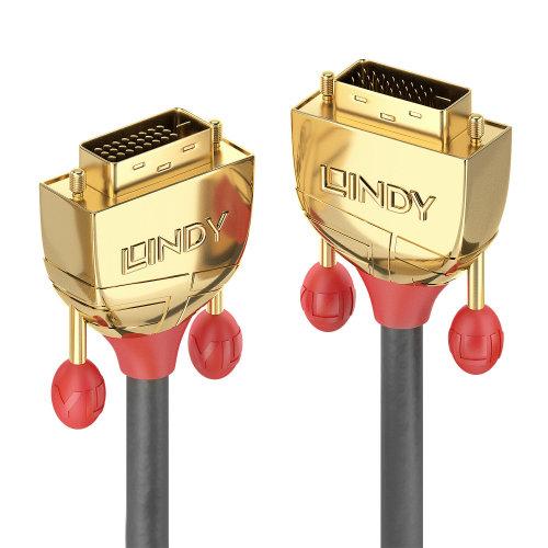 Lindy 36205 DVI cable 7.6 m DVI-D Black,Gold