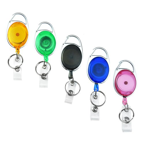 Retractable Carabiner Badge Reels with Key Ring and Badge Strap for ID Badge Holders, Keys and Cards, 5 Pieces