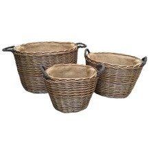 Set 3 Oval Hessian Lined Log Baskets