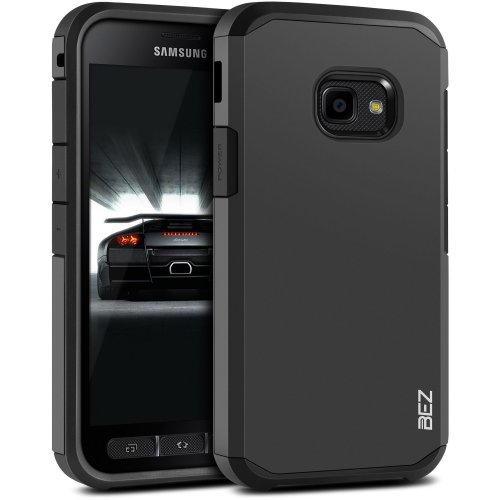 BEZ Xcover 4 Case Shockproof Case Cover, Shock Absorbing Best Heavy Duty Dual Layer Tough Cover for Samsung Galaxy Xcover 4 - Black