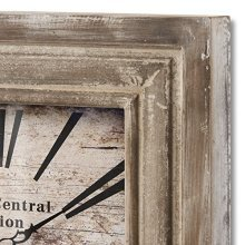 Grand Central Station Square Wooden Clock - Distressed Face 58cm -  wooden square grand central station clock distressed face 58 cm