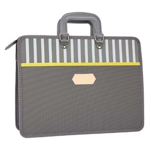 Paper Clip Multilayer File Holder Portable Canvas Information Bag-Gray