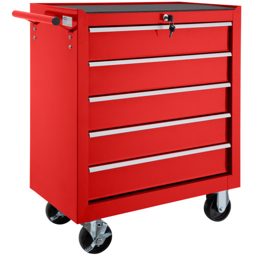 Tool chest with 5 drawers red