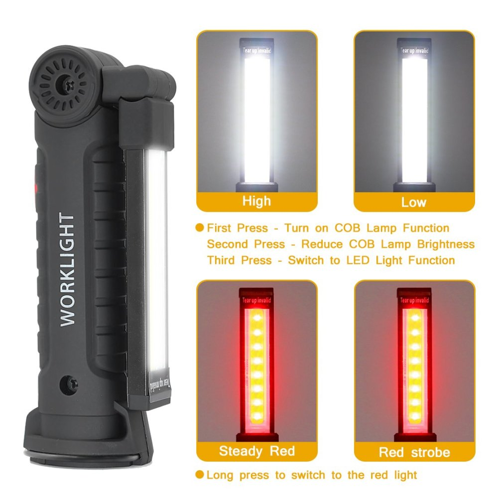 Led Work Light Rechargeable COB Inspection Lamp Portable Flashlight Torch with