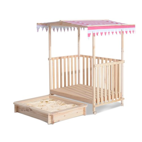 Homcom Kids Sandbox Pit Canopy Play Station Playhouse Veranda Wood (Red)