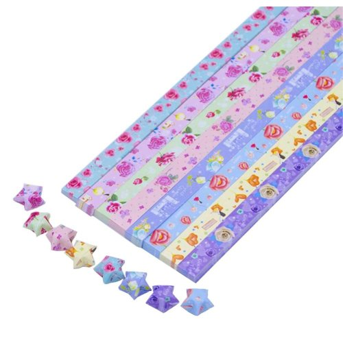 Beautiful Rose Flowers Pattern Origami Lucky Star Papers - 370 Sheets