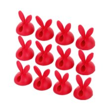 Reusable Fastening Wire Organizer Desktop Cable Holder Red Set of 12