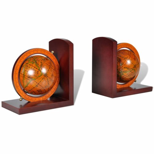 vidaXL Bookstand World Map Globe Classic A Pair Bookend Office Stationery