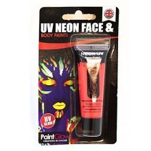 Uv Face & Body Paint, Red, 10ml, Blister Pack - Paint Red Neon Wax Based 13ml -  uv face body paint red neon wax based 13ml blister pack