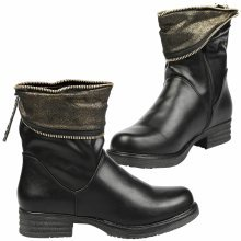 Vicki Womens Low Heel Zip Up Press Stud Ankle Boots