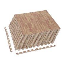 HOMCOM 36 Pcs Interlocking EVA Foam Floor Tiles Puzzle Mat Soft Kids Protection Gym Garage Wood Grain Effect 60 cm