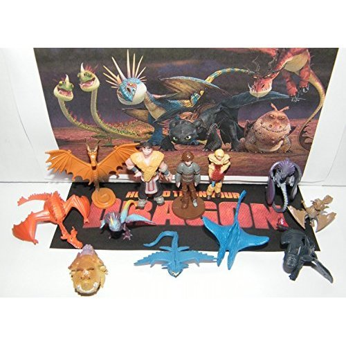 How To Train Your Dragon Figure Set of 12 Mini Toys Party Favors with many Dragons, People and New Characters