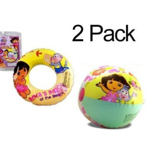 2 PACK Dora the Explorer Inflatable Swim Ring 20 Dora s Day at the Beach 20 Beach Ball Play Time Adventure Summer Toys