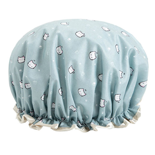 Womens Stylish Design Mold-resistant Shower Cap Double Layers Waterproof Bath Cap,H