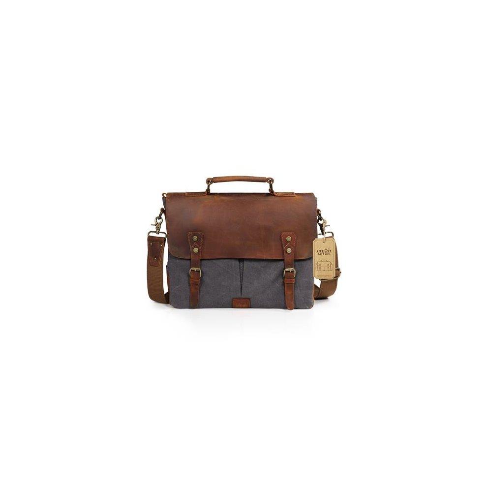 d8d4528db0 Lifewit 14-15.6 Inch Leather Satchel Messenger Laptop Shoulder Bag Canvas  Briefcase (14