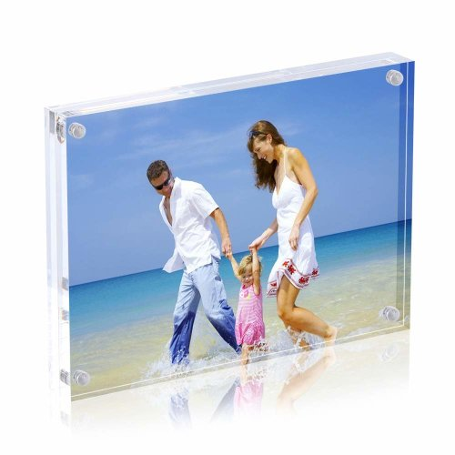Acrylic Photo Frames,9x13 cm Clear Double Sided Magnetic Picture Frame, Desktop Frameless Postcard Display