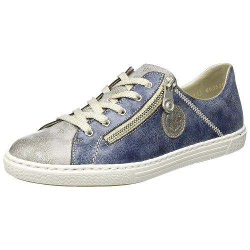Rieker L0943, Women's Low-Top Sneakers, Blue (Grey/jeans / 41), 6½ UK (40 EU)