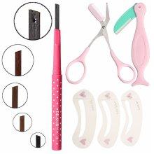 4 Pcs/Set Eyebrow Razor + Pencil + Scissors + Thrush Card Professional Eye Makeup Beauty Tool Kit