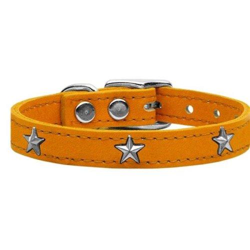Mirage Pet 83-69 Mn10 Silver Star Widget Genuine Leather Dog Collar, Mandarin - Size 10
