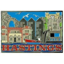 Hastings Montage Foil Stamped Fridge Magnet Souvenir Gift Sussex Collage New