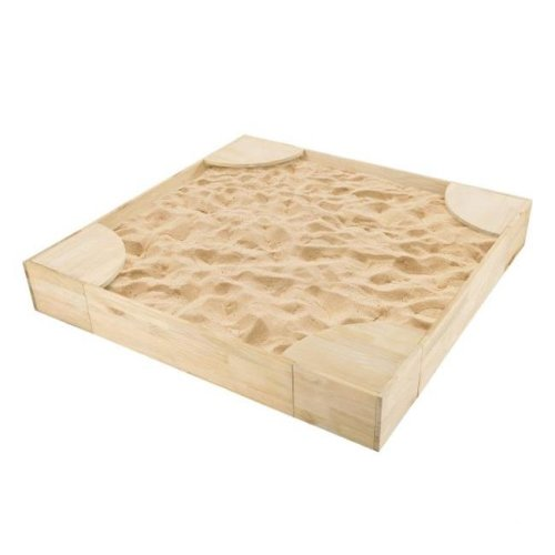 Hey Play 80-SN-202 Wooden Sandbox with Built In Seating