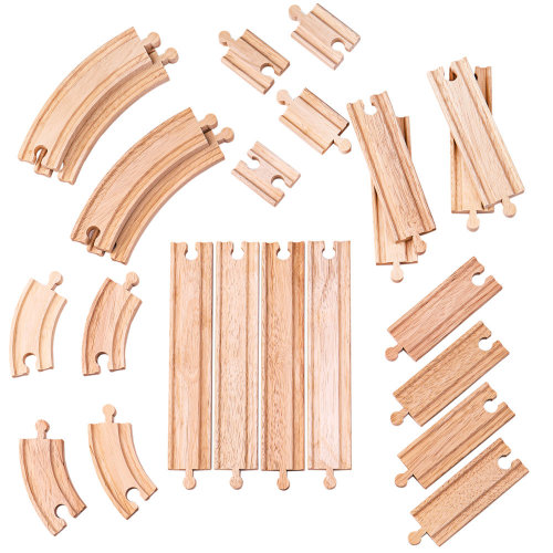 Bigjigs Toys Curves & Straights Expansion Pack   Wooden Train Tracks