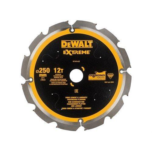 DEWALT DT1474-QZ Extreme PCD Fibre Cement Saw Blade 250 x 30mm x 12T