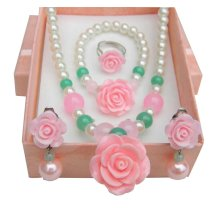 Pink Beautiful Necklace/Bracelet/Ear Clips/Ring Set for Kids