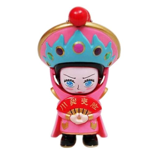 Chinese Opera Face Changing Doll Sichuan Opera Figure Toy, Blue Hat, Pink