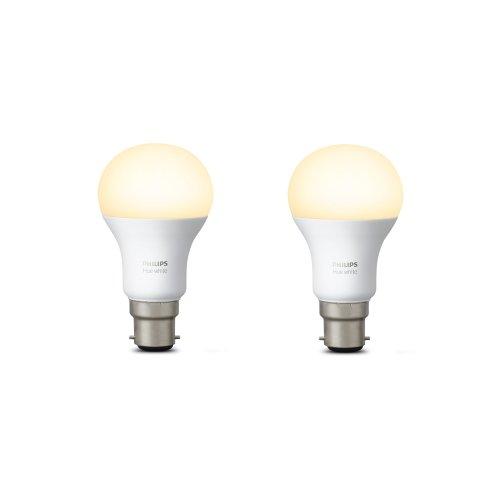 Philips Hue White Personal Wireless LED B22 2Pack Bayonet Cap Light Bulbs