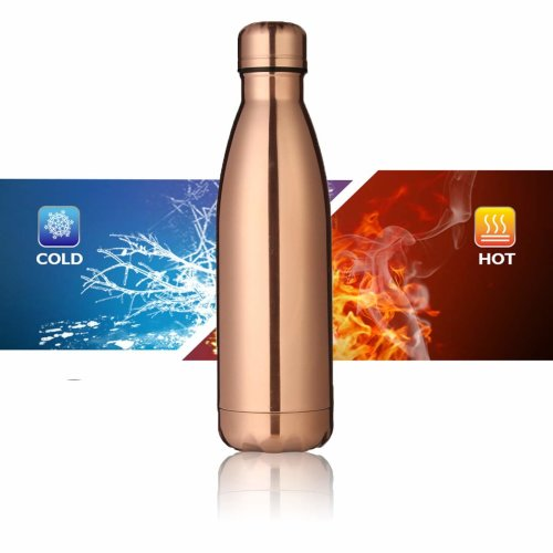 KING DO WAY KING DO WAY Insulated Stainless Steel Water Vacuum Bottle Double-walled for Outdoor Sports Hiking Running , 500ml/17 oz Rose Gold