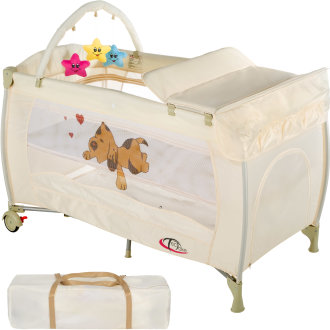 Travel cot dog with changing mat and play bar beige