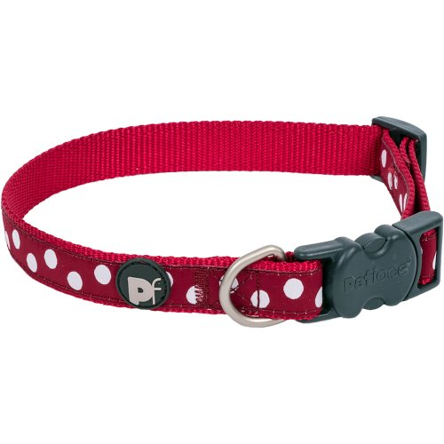 """Petface Dots Collar 19"""" To 28""""-Large-Cherry & White"""